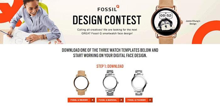 Fossil lancia un concorso per nuove watch face, con 2.000$ e smartwatch in palio