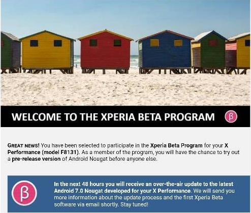Xperia Beta Program Nougat