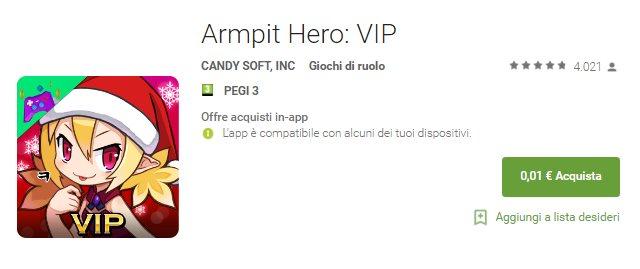 Armpit Hero: VIP è il primo contenuto scontato a soli 0,01€ sul Play Store: ne vedete altri?