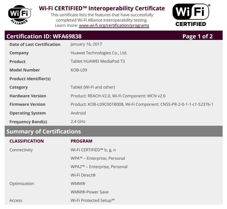 certificazione-huawei-mediapad-t3