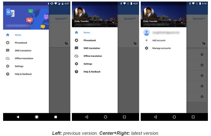 Google Translate v5.8 adds dictionary-style definitions, an account switcher, an – 000084