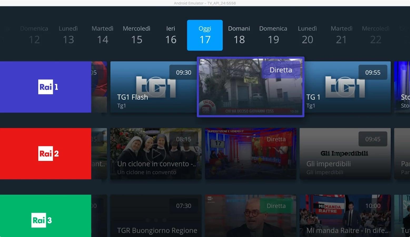 Raiplay per android tv consente di rivedere programmi e