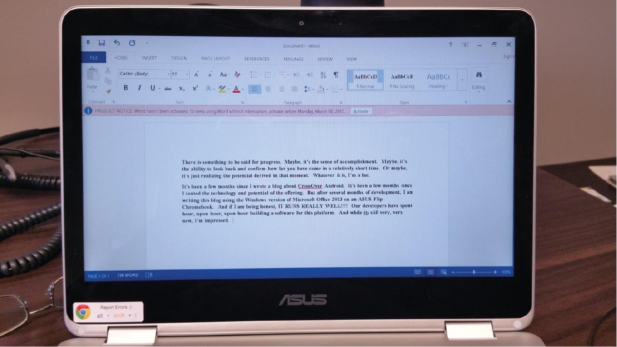 CrossOver porta Microsoft Office 2013 in versione Windows sui Chromebook