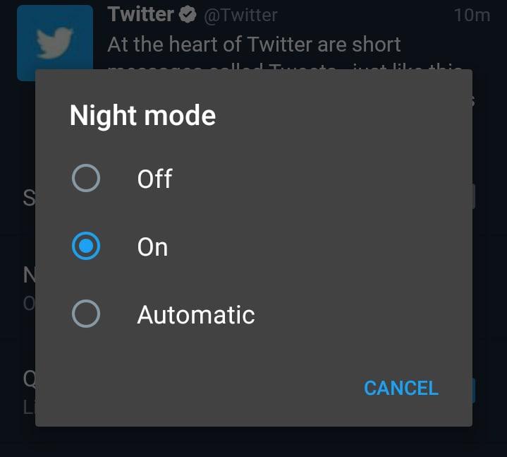 Twitter propone una modalità notturna nella sua app ufficiale (foto)
