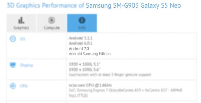 Galaxy S5 Neo compare su GFXBench con Android Nougat: possibile aggiornamento in arrivo?