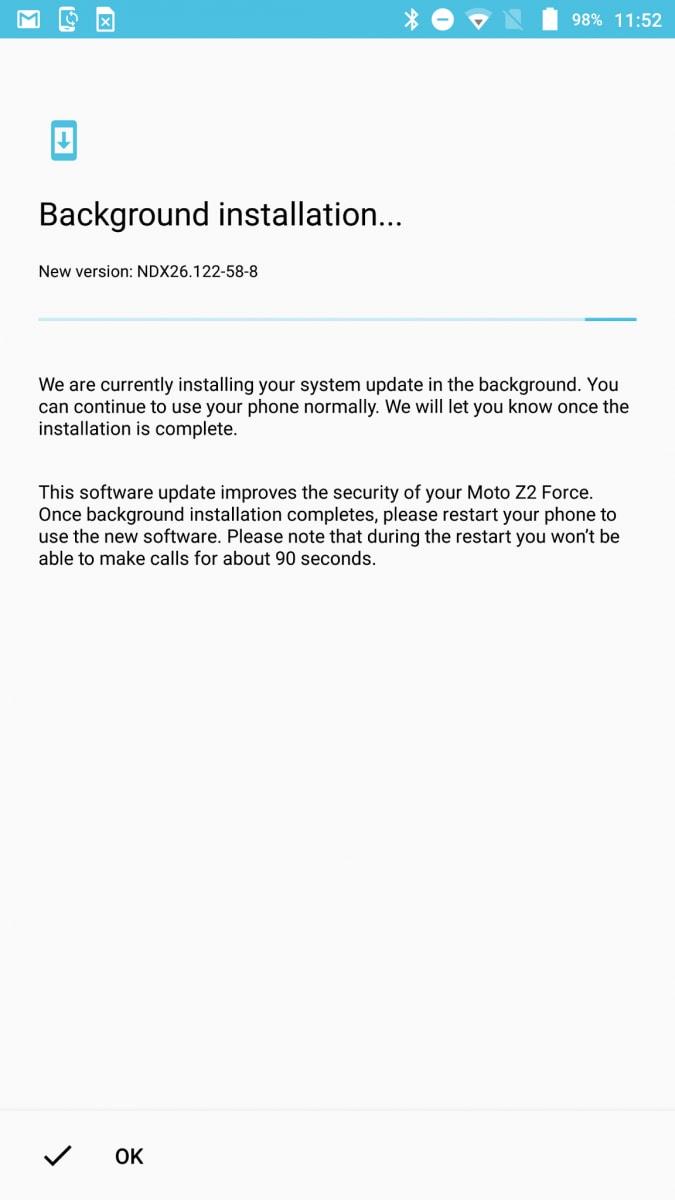 Moto Z2 Force – Seamless Update – 1