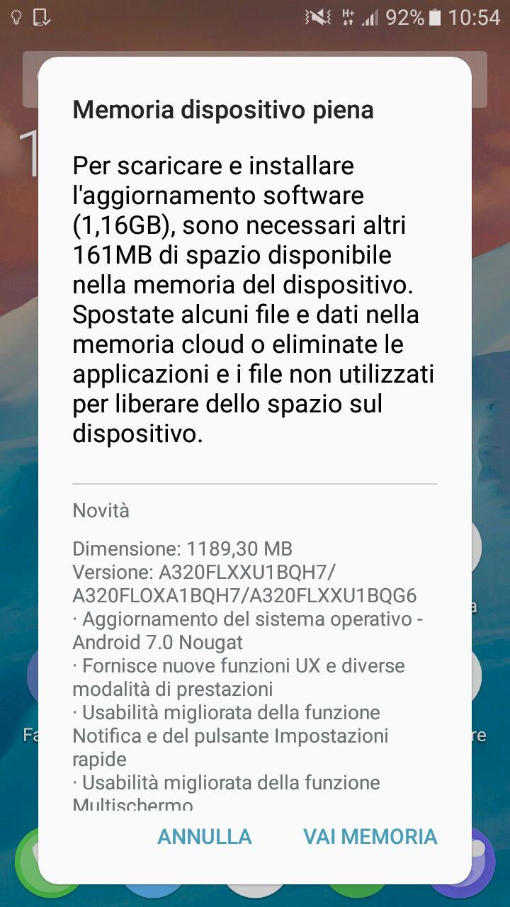 Samsung Galaxy A3 (2017) aggiornamento Nougat Italia