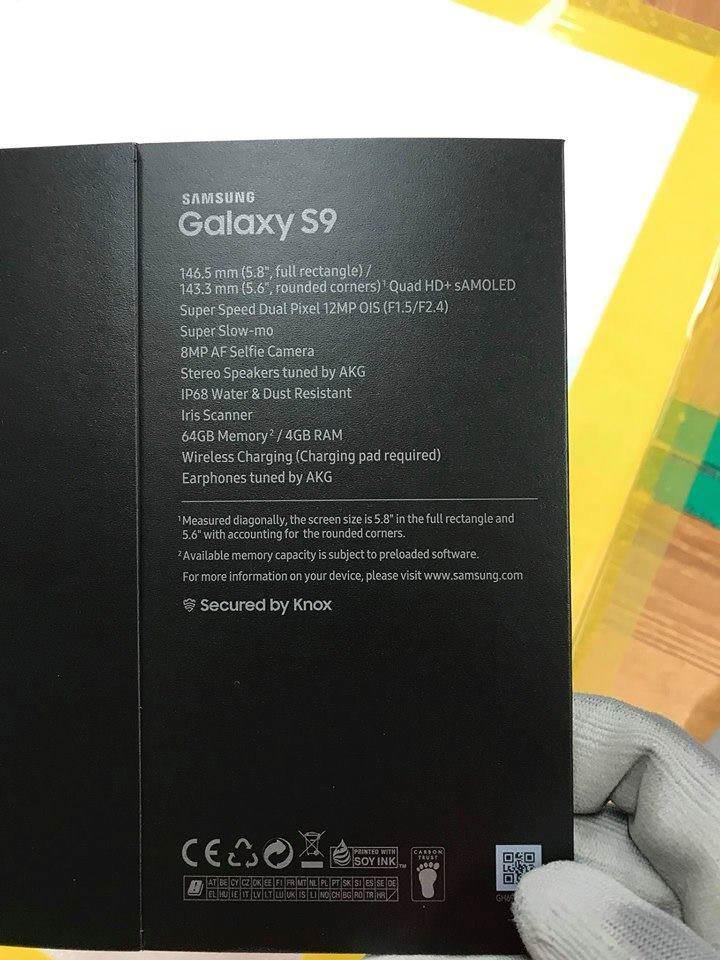confezione galaxy s9 leaked