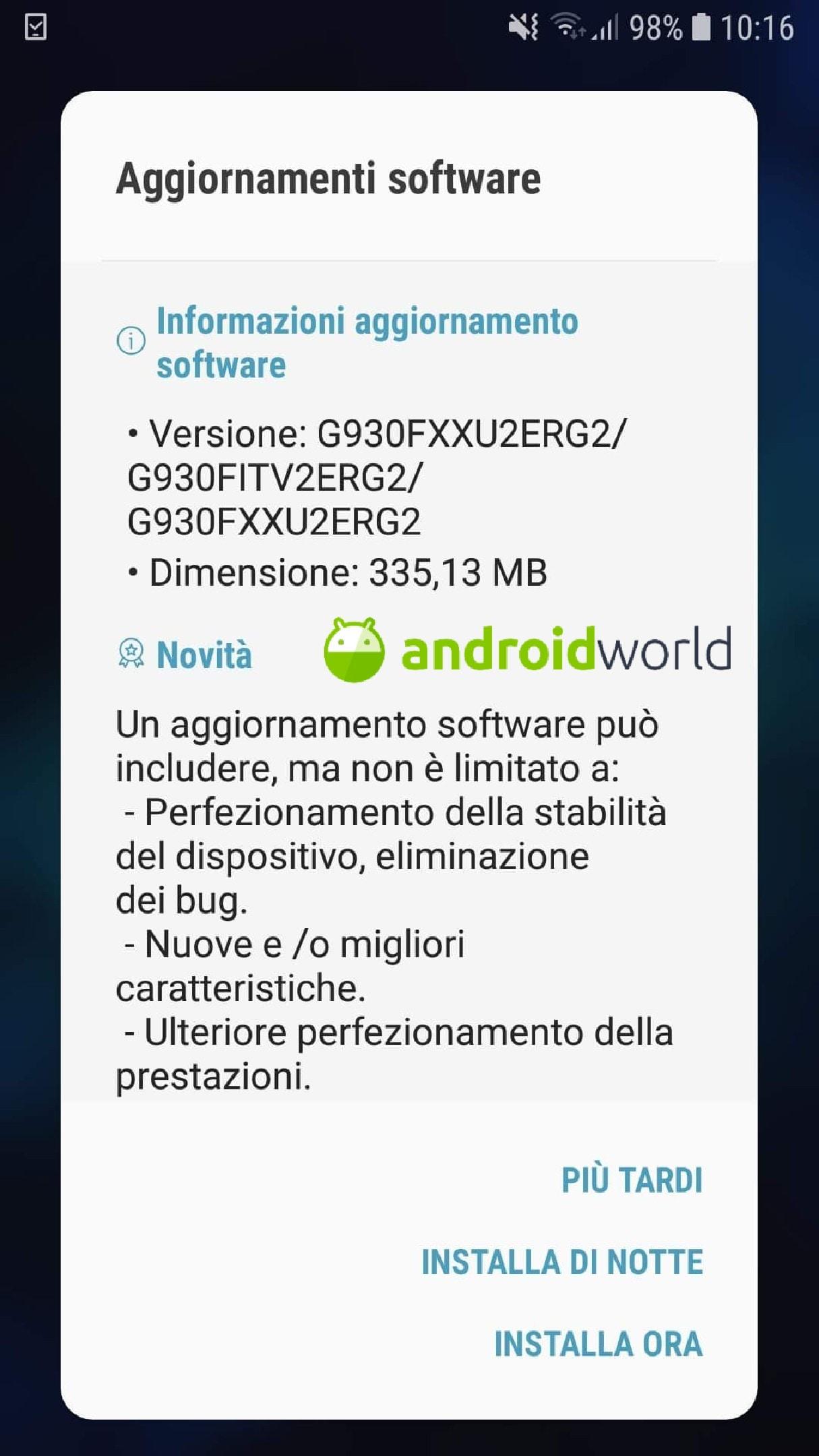Galaxy S7 no brand aggiornamento