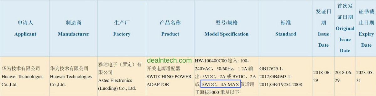 Huawei-Power-Adapter-Charging-10V-4A