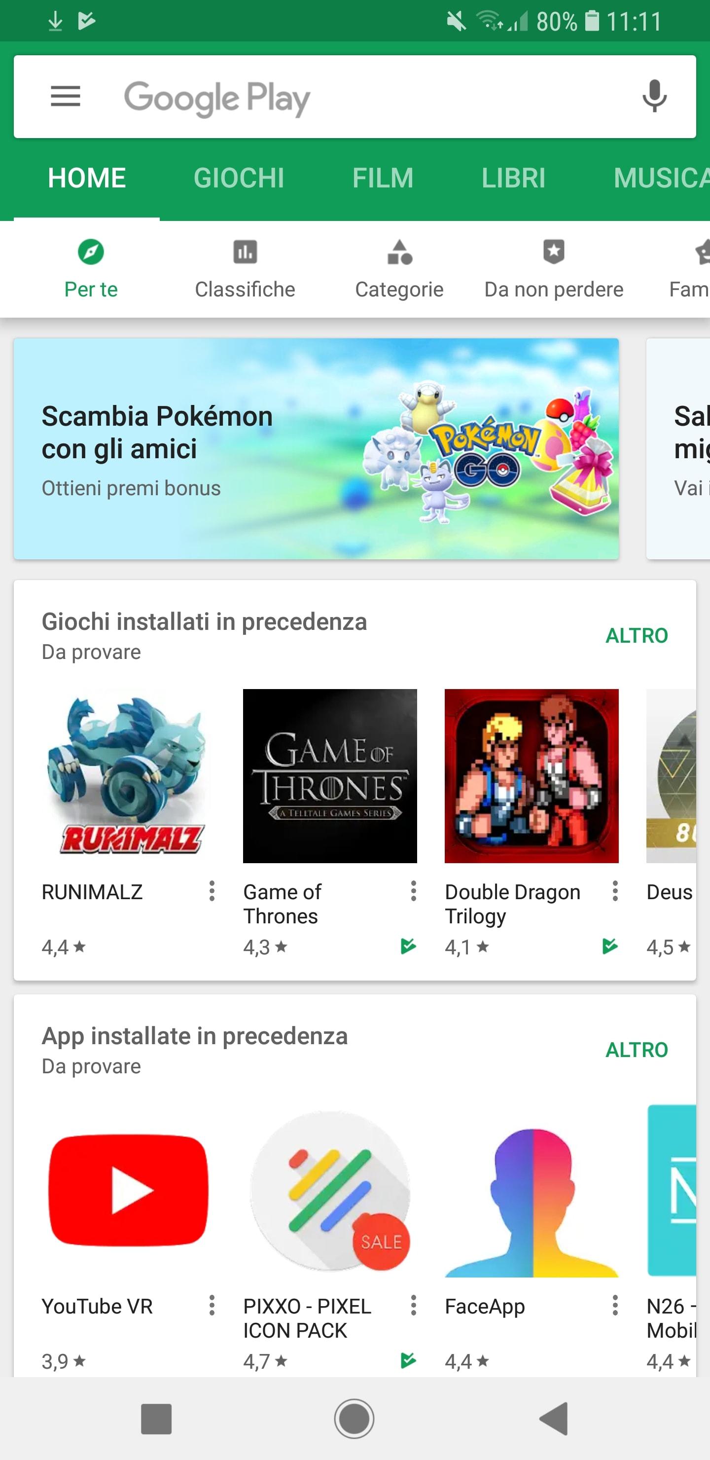 Play Store nuovi banner giochi