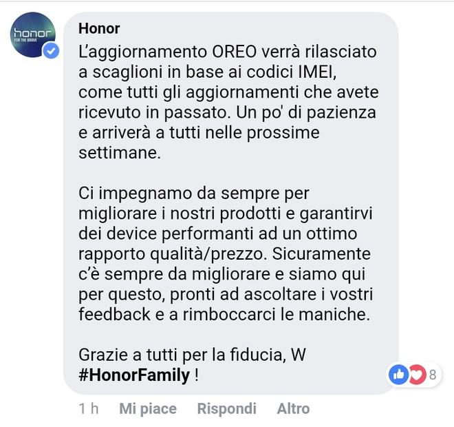 Honor 8 aggiornamento Oreo