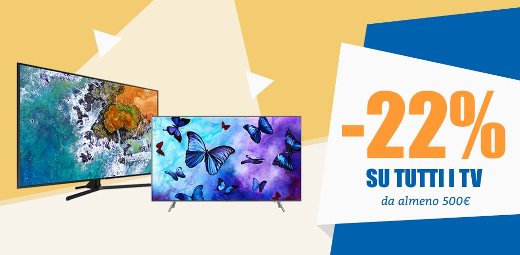 Weekend NO IVA -22% Unieuro: i protagonisti sono i TV da almeno 500€
