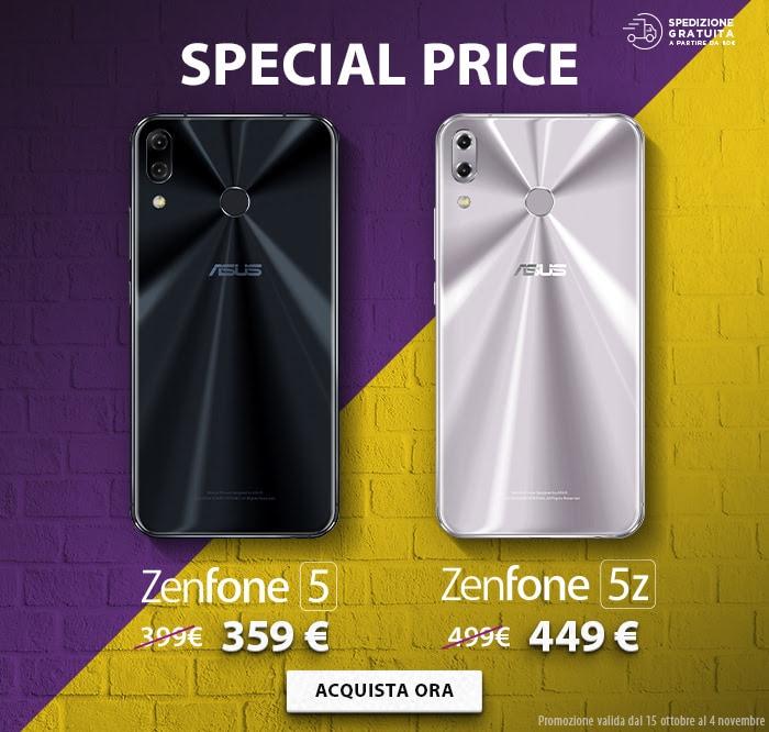 ASUS lancia gli Special Price per ZenFone 5 e ZenFone 5Z: 10% di sconto fino al 4 novembre