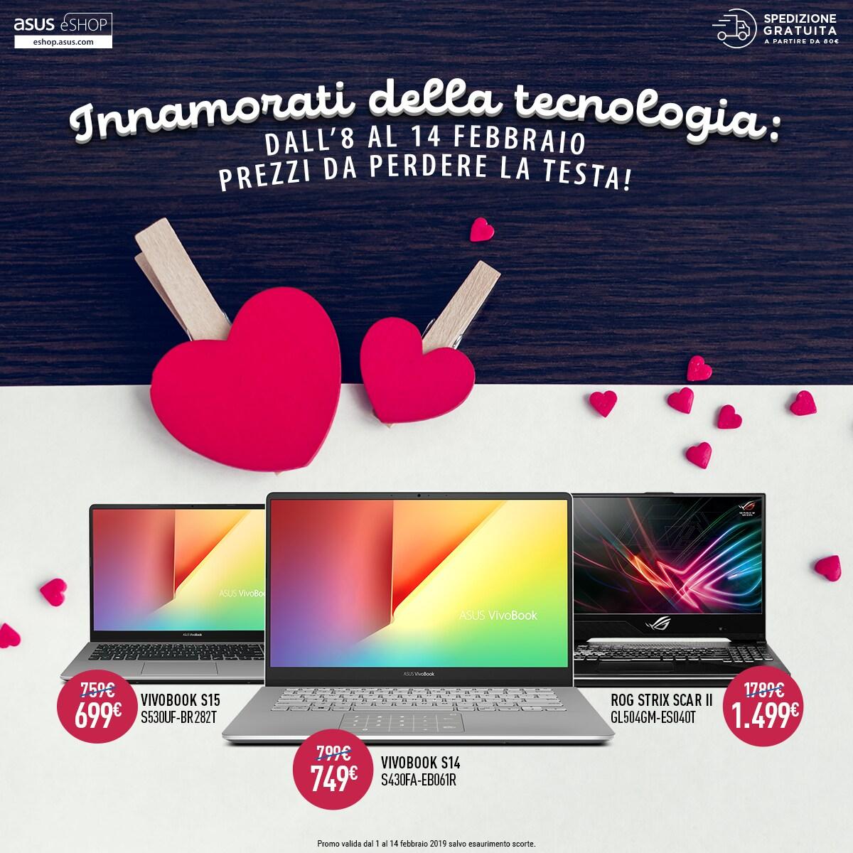 Con ASUS a San Valentino trionfa l'amore per la tecnologia: forti sconti su smartphone, notebook e accessori