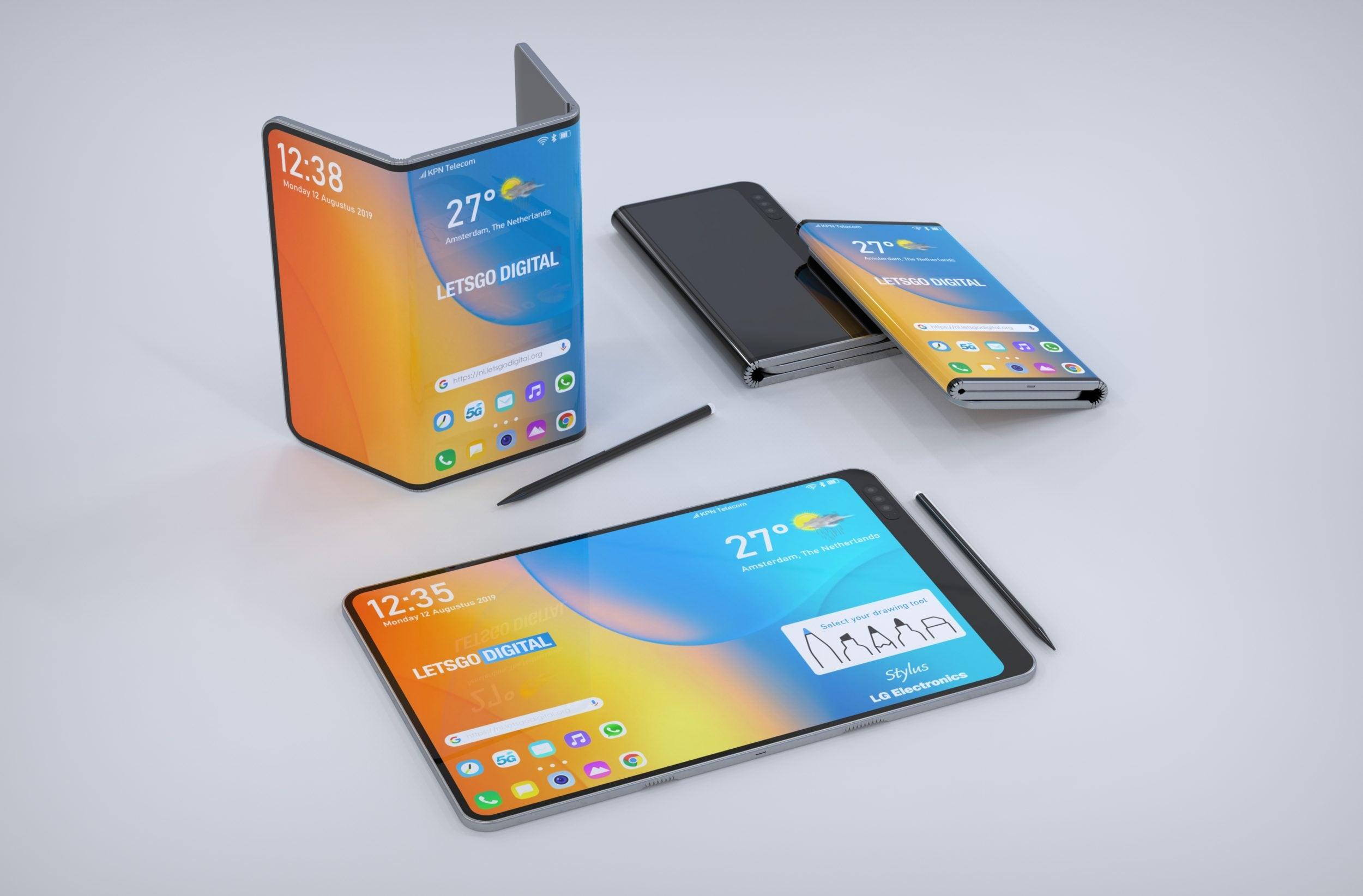 Nuove immagini dagli innovativi brevetti LG: uno smartphone che si piega in 3 (con stilo) e uno arrotolabile (foto)
