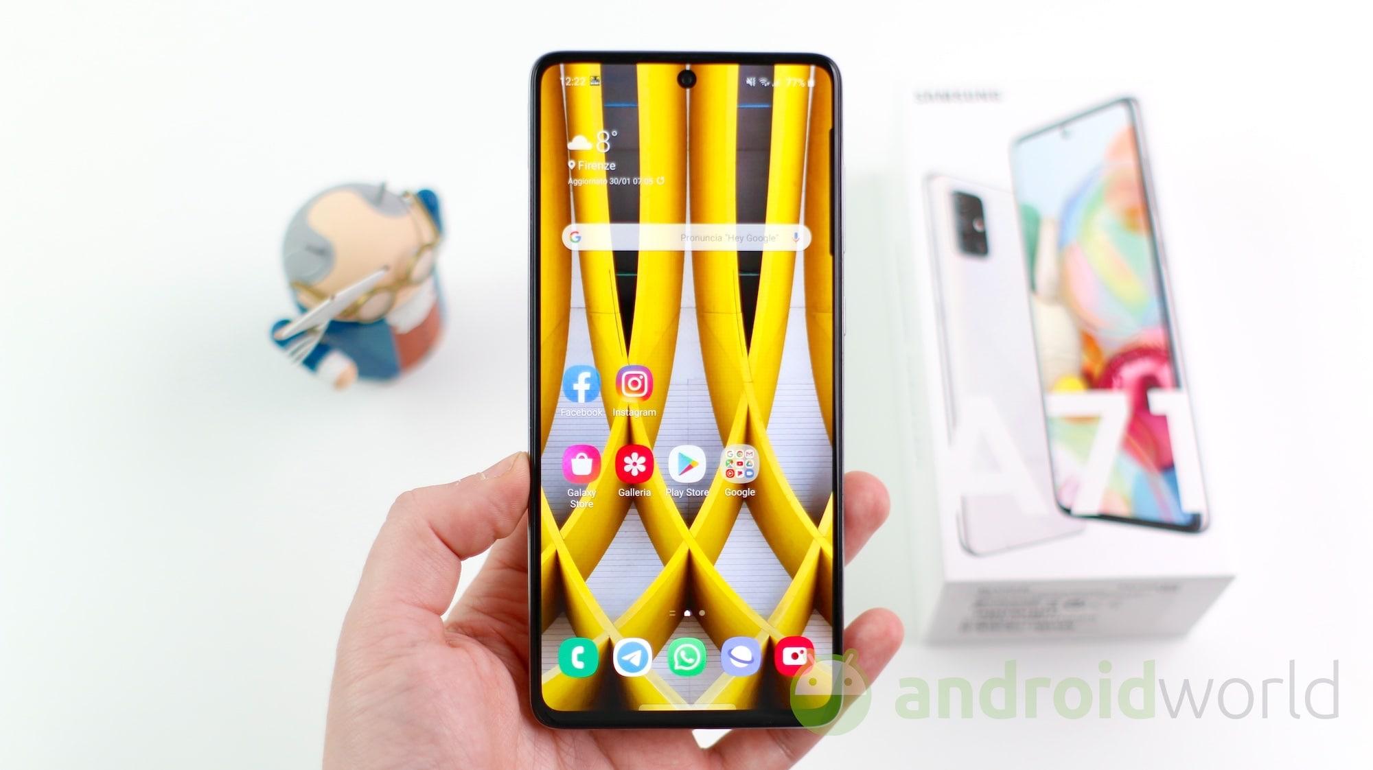 Galaxy A71 si aggiorna con le patch di aprile 2021