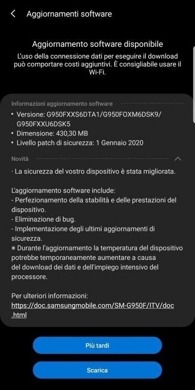 Samsung Galaxy S8/S8+ aggiorna le patch di sicurezza (foto) - Androidworld
