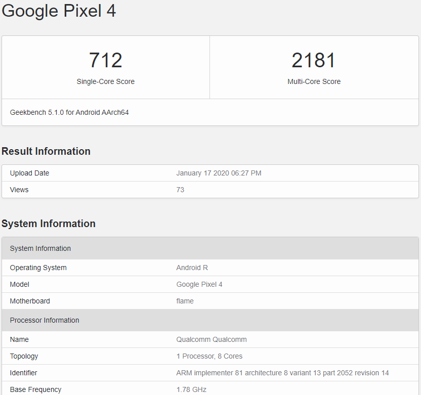 google-pixel-4-android-11-r-geekbench-leak