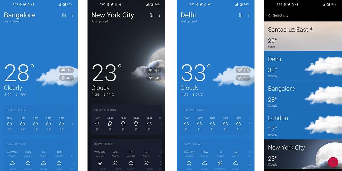 OnePlus Weather si aggiorna in beta col nuovo design di OxygenOS/Android 11 (foto)