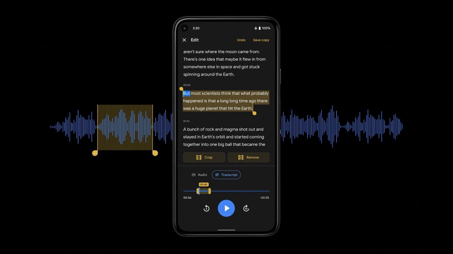 Google Recorder riceve una funzionalità quasi magica: arriva l'editor basato sulla trascrizione (foto)