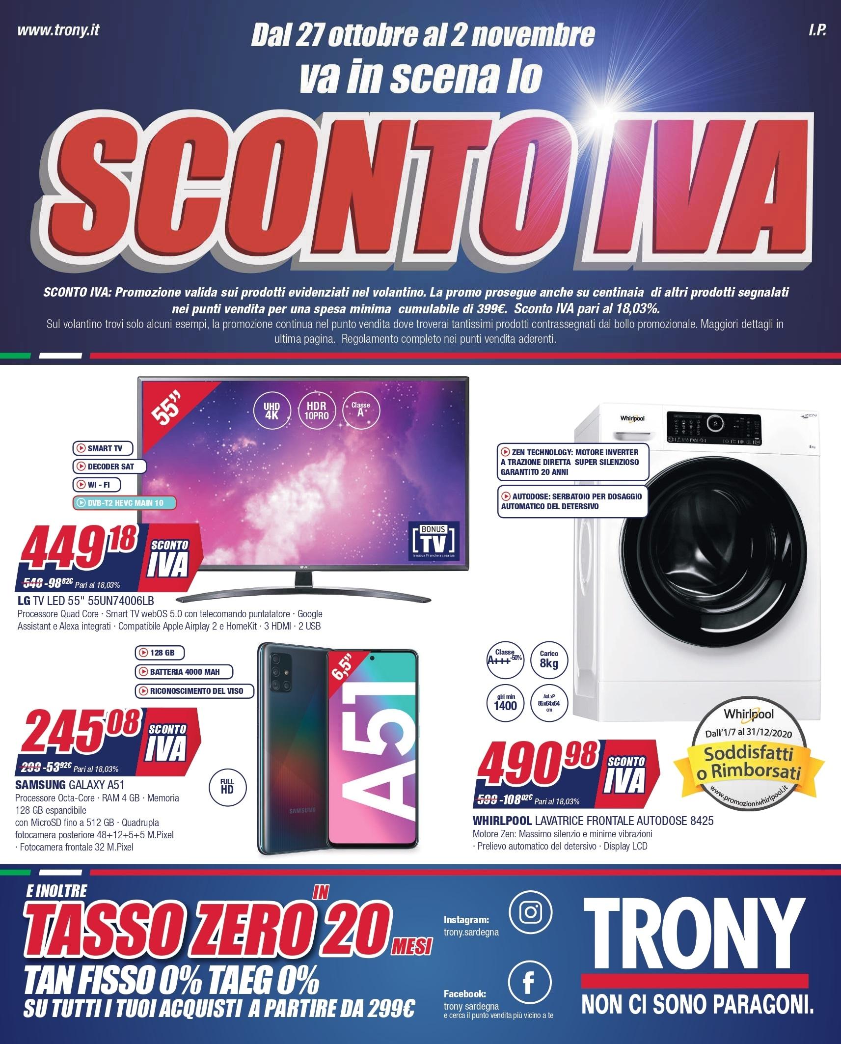 """Volantino Trony """"Sconto IVA"""" 27 ott – 2 nov: sconti su una vasta scelta di prodotti tech (foto)"""