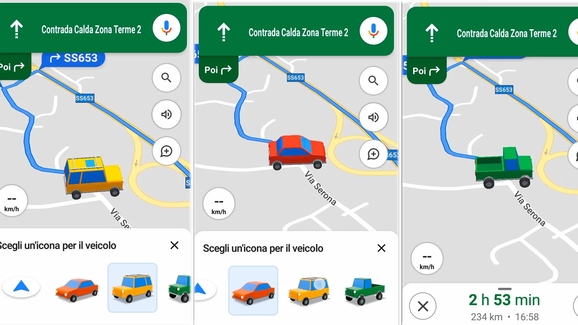 Su Google Maps si può scegliere la grafica del veicolo in navigazione