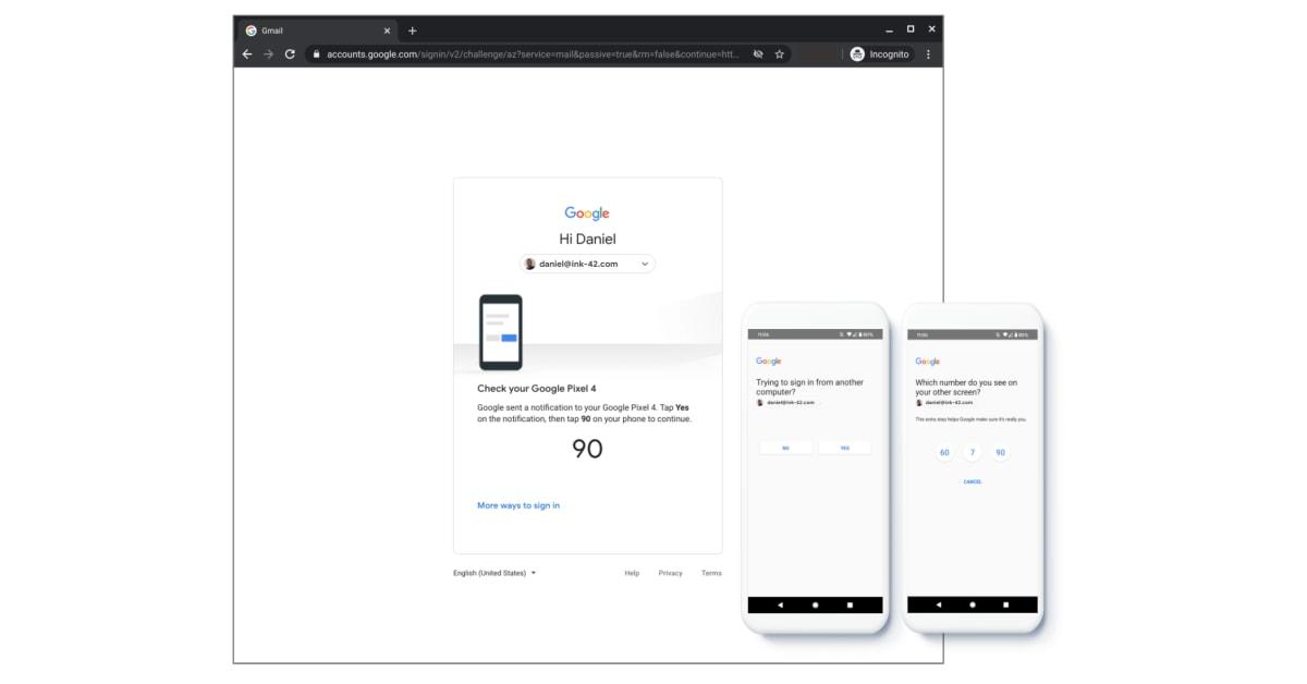 Google tinge di nero anche l'interfaccia dell'autenticazione a due fattori