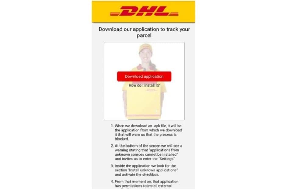 FluBot-malware-DHL